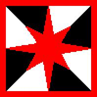 Gyronny Sable and Argent, a Compass Star, within a Bordure, Gules